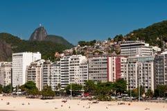 Beautiful Copacabana Beach on a Sunny Day. Panoramic view of Copacabana beach on a Sunny Summer Day in Rio de Janeiro, Brazil Royalty Free Stock Image