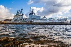 Copenhagen - a view from river cruise ship. Beautiful Copenhagen in Denmark, a view into the harbour - from river cruise ship Stock Photo