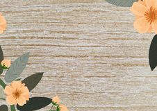 Copyspace leaves and flowers wooden background stock illustration