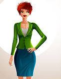 Beautiful coquette business lady illustration, full body portrai Royalty Free Stock Image