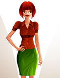 Beautiful coquette smiling lady illustration, full body portrait Stock Image