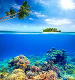 Beautiful Coral Reef on the background of a small island Royalty Free Stock Image