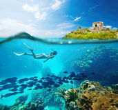 Beautiful Coral reef Caribian sea with lots of fish and a woman Royalty Free Stock Photo