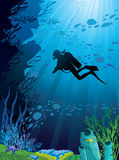 Beautiful coral reef and silhouettes of diver. And school of fish in a blue sea Vector Illustration