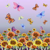 Beautiful coreopsis flowers and flying butterflies on gradient background. Seamless floral pattern. Watercolor painting. Hand drawn and painted illustration vector illustration