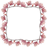 Beautiful corner frame with pink magnolia flowers Royalty Free Stock Photo