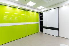 Beautiful corner sliding door closets. Beautiful sliding door closets company called `mydoor` who made several new international patents in this industry royalty free stock photography