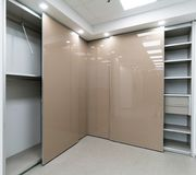 Beautiful corner sliding door closets. Beautiful sliding door closets company called `mydoor` who made several new international patents in this industry stock images