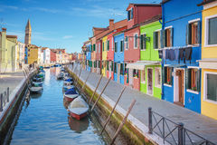 Beautiful corners of the lagoon of Venice and Burano in the afte Stock Images