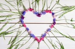 Beautiful cornflowers in shape of heart Royalty Free Stock Photo