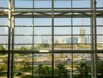 Beautiful corniche view of Abu Dhabi city skyline from the Nations Towers mall stock photography