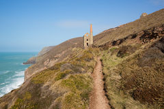 Beautiful Cornwall coast and tin mine England UK Stock Photography