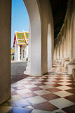 Beautiful corridor with old chequered floor tiles Royalty Free Stock Photography