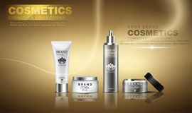 A beautiful cosmetic ads template, golden bottle design on a gold shiny background with splash bokeh and golden lighting flare e stock illustration