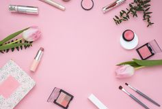 Cosmetic pink frame. Top view. Flat Lay. Beautiful Cosmetic pink frame. Makeup produсt. Top view. Flat Lay Royalty Free Stock Images