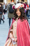 Beautiful costumed woman during venetian carnival,  Venice, Italy Royalty Free Stock Photography
