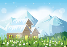Beautiful cottage,green grass and snowy mountains. Picturesque winter scenery - Vector EPS 10 Royalty Free Stock Photos