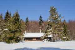 Cottage in the woods in winter Royalty Free Stock Photography