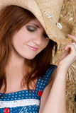 Beautiful Country Girl. Wearing hat Stock Photography