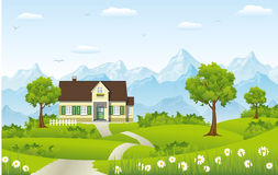 Beautiful country house. In the mountains Stock Images
