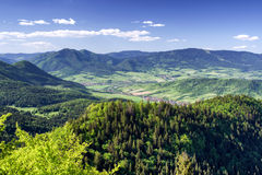 Beautiful country landscape in Slovakia. Beautiful view from vrch Hrdos Ostre in Mala Fatra national park. Mountains landscape royalty free stock photos