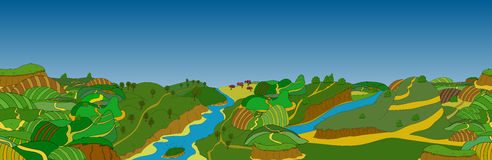 Beautiful country landscape. Vector illustration Royalty Free Stock Photography