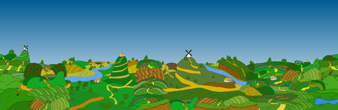 Beautiful country landscape. Vector illustration Stock Photo