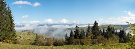 Beautiful country morning. Beautiful autumn morning near Carpathian village outskirts (Carpathian mountain, Ukraine). Six shots stitch image Royalty Free Stock Photo