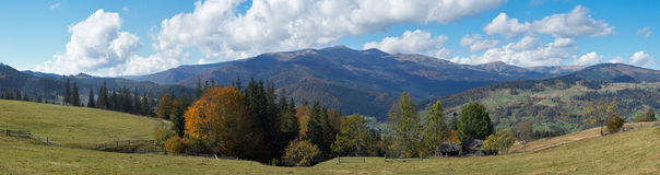 Beautiful country morning. Beautiful autumn morning near Carpathian village outskirts (Carpathian mountain, Ukraine). Eight shots stitch image Stock Images