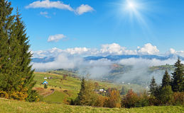 Beautiful country morning in Carpathian mountains Stock Image