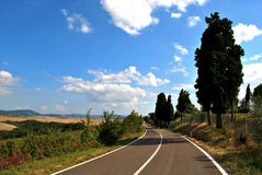 Beautiful country road in Tuscany region Stock Image