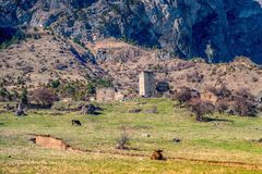 Beautiful countryside of ancient towers and ruins in Ingushetia Royalty Free Stock Photography