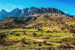 Beautiful countryside of Egikal ancient towers and ruins in Ingu. Shetia Jeyrah ravine, Republic of Ingushetia, Russia Royalty Free Stock Photo