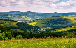 Beautiful countryside with grassy fields in summer. Carpathian mountain landscape with village in valley Stock Image