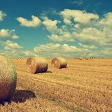 Beautiful countryside landscape. Hay bales in harvested fields. Czech Republic - Europe. Agricultural background - harvest. Stock Images