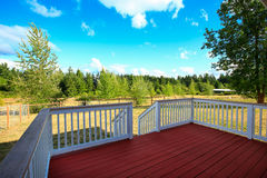 Beautiful countryside landscape from house walkout deck. Stock Photo