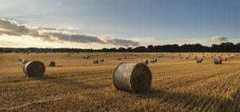 Beautiful countryside landscape image of hay bales in Summer fie Stock Images