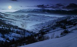 Beautiful countryside in mountains at night. Village and rural fields on hillsides of valley covered with snow shine in full moon light Royalty Free Stock Photos