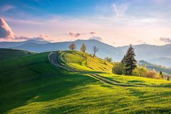 Beautiful countryside in mountains at sunset stock images