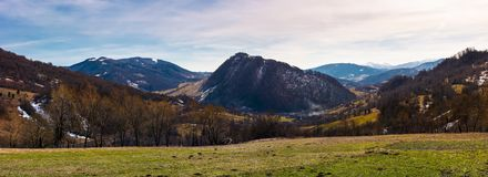 Beautiful countryside panorama in springtime. Beautiful view of mountainous area in Carpathians Royalty Free Stock Photo