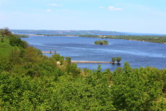 Beautiful countryside and the river Dnepr. Amidst nature flowing river Dnepr in Kanev Stock Photos