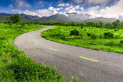 Beautiful countryside road in green field under blue sky Royalty Free Stock Photo