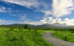 Beautiful countryside road in green field under blue sky Stock Photos