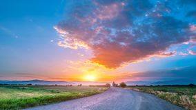 Beautiful countryside road at sunset stock footage