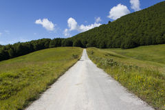 Beautiful countryside road. Under blue sky Stock Photography