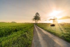 Beautiful Countryside fields sunset Royalty Free Stock Photo