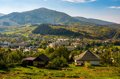 Beautiful countryside in transcarpathian mountains. Beautiful countryside of TransCarpathian town Volovets. spectacular early autumn scenery in mountains Stock Photography