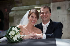 Beautiful couple. Happy bride and groom on their weddingday Stock Photo