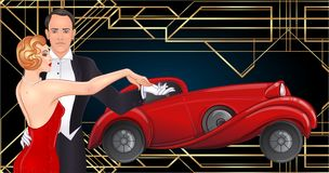 Beautiful couple in art deco style dancing tango. Retro fashion:. Glamour man and woman of twenties and red car. Vector illustration. Roaring Twenties. Classic royalty free illustration