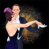 Beautiful couple in art deco style dancing tango. Retro fashion:. Glamour man and woman of twenties. Vector illustration. Flapper 20's style. Vintage party or royalty free illustration